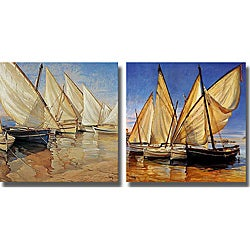 Jaume Laporta 'White Sails I and II' 2-piece Canvas Art Set