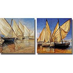 Jaume Laporta 'White Sails I and II' 2-piece Canvas Art Set
