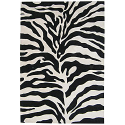 Hand-tufted Zebra Wool Rug (5' x 8')