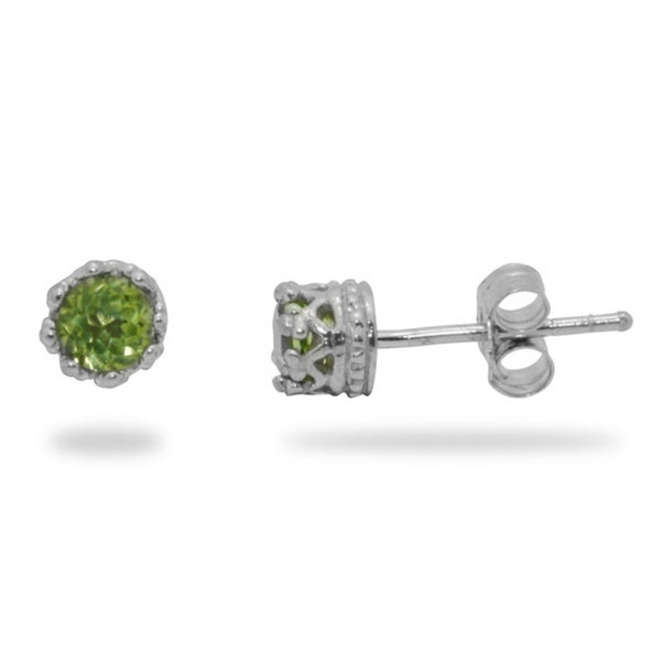 Junior Jewels Silver Crown-set Round Peridot Stud Earrings