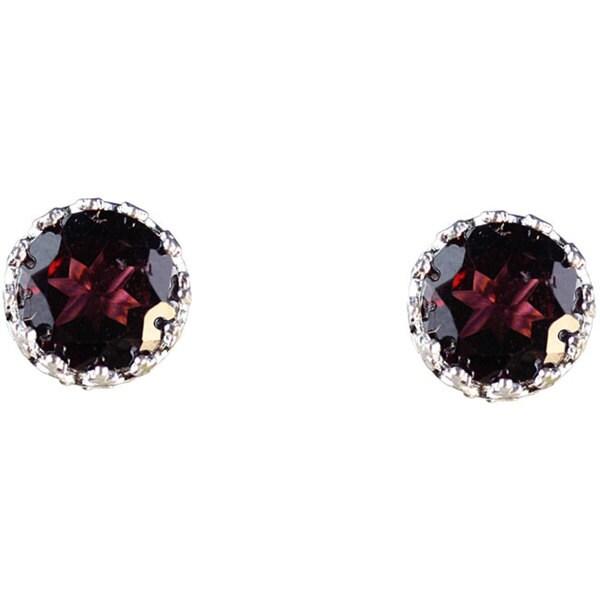 Junior Jewels Sterling Silver Crown-set Round Garnet Stud Earrings