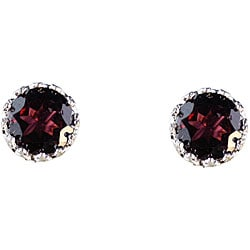 Sterling Silver Crown-set Round Garnet Stud Earrings