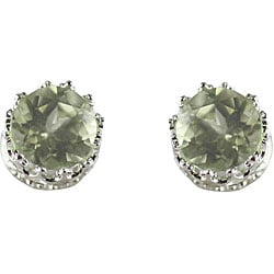 Sterling Silver 4mm Round Green Amethyst Stud Earrings