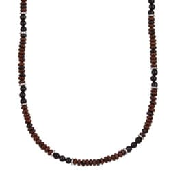 Charming Life Men's Silver 20-inch Red Obsidian and Onyx Necklace