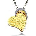 Two-tone High-polish Stainless-steel Heart Necklace with Rope Chain