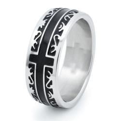 Stainless Steel Men's Black Inlay Cross Ring (8 mm)