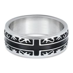 Stainless Steel Men's Black Inlay Cross Ring (8 mm)