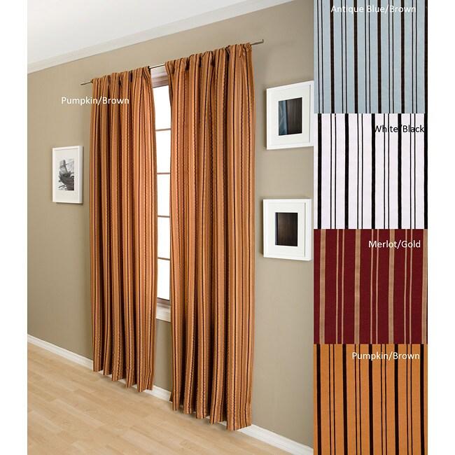 Zara Flocked Stripe Lined Rod 96-inch Pocket Panel