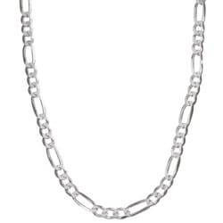Sterling Essentials Sterling Silver 18-inch Diamond-cut Figaro Chain (4.5 mm)