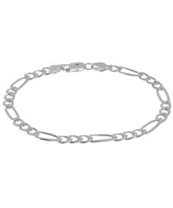 Sterling Essentials Sterling Silver 8-inch Diamond-cut Figaro Chain Bracelet (5mm)