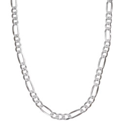 Sterling Silver 24-inch Diamond-cut Figaro Chain (4.5 mm)
