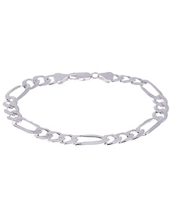 Sterling Silver 7-inch Diamond-cut Figaro Chain Bracelet (7.5 mm)