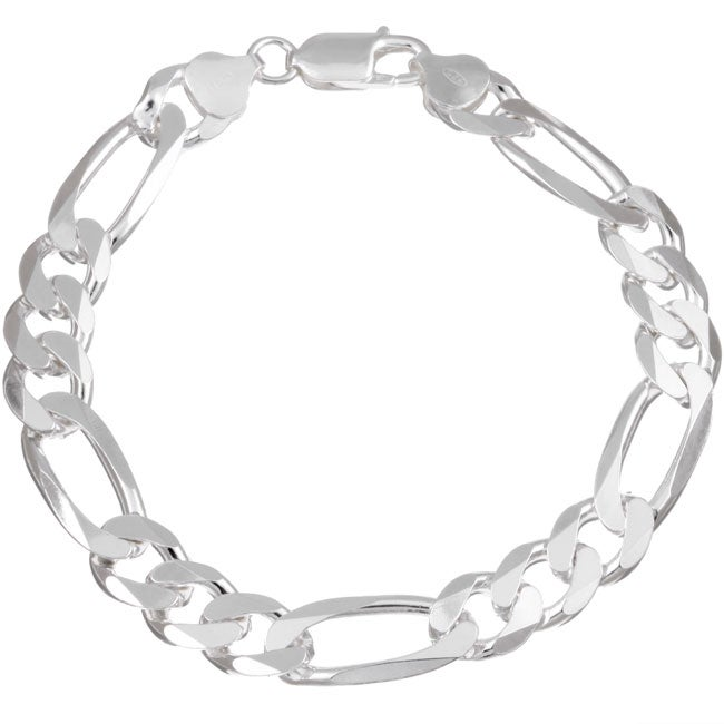 Sterling Essentials Sterling Silver Diamond-cut Figaro Chain Bracelet (9.50mm)