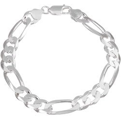 Sterling Essentials Sterling Silver 8.5-inch Diamond-Cut Figaro Chain Bracelet (9.50mm)