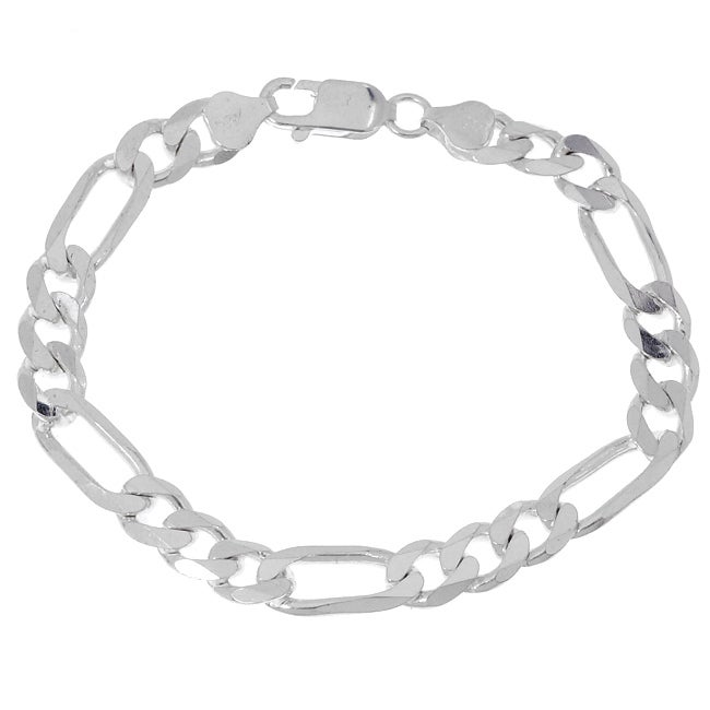 Sterling Essentials Italian Silver 8 mm Diamond-Cut Figaro Bracelet (8.5 Inch)