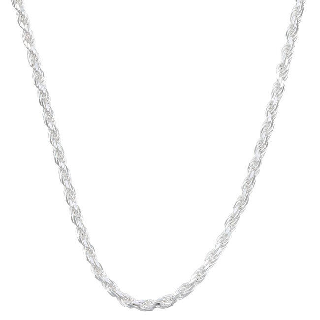 Sterling Essentials Sterling Silver 24-inch Diamond-Cut Rope Chain (3mm)