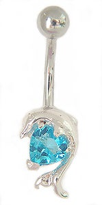 CGC Surgical Steel Jeweled Dolphin Barbell Belly Ring