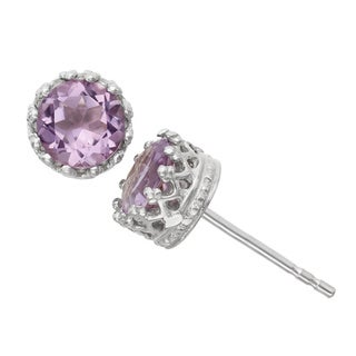 Diamante di Uomo Sterling Silver Amethyst Stud Earrings