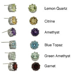 Gioelli Tiara Collection Sterling Silver 8mm Round Gemstone Crown Earrings