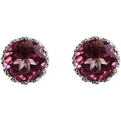 Sterling Silver Pink Topaz 8 mm Round Stud Earrings