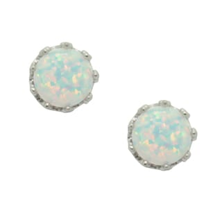 Sterling Silver Crown-set Round Opal Stud Earrings