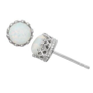 Gioelli Sterling Silver Crown-set Round Opal Stud Earrings