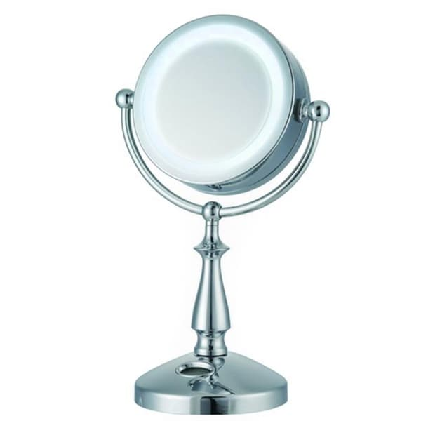 ware 32 led lighted 1x 10x touch control makeup mirror and clock. Black Bedroom Furniture Sets. Home Design Ideas