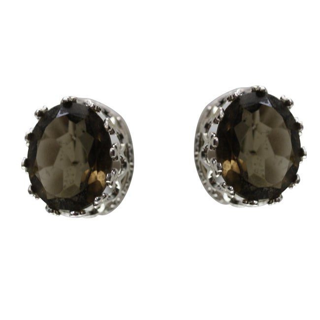 Gioelli Sterling Silver Crown-set Oval Smokey Quartz Stud Earrings