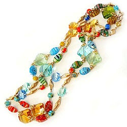 Sweet Romance 14K Gold Candy Glass and Prism Necklace