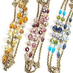 Sweet Romance Bronze Glass Pearl and Crystal Bead 'Sautoir' Necklace