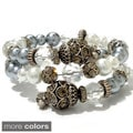 Sweet Romance Caterpillar Glass Nacre Pearl Wrapper Bracelet
