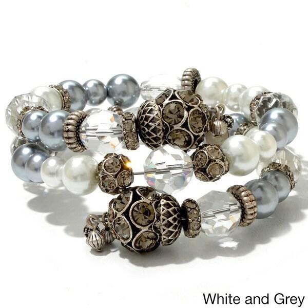 Sweet Romance Caterpillar Glass Nacre Pearl Wrapper Bracelet