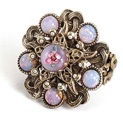 Sweet Romance Bohemian Art Glass Faux Pearl Ring