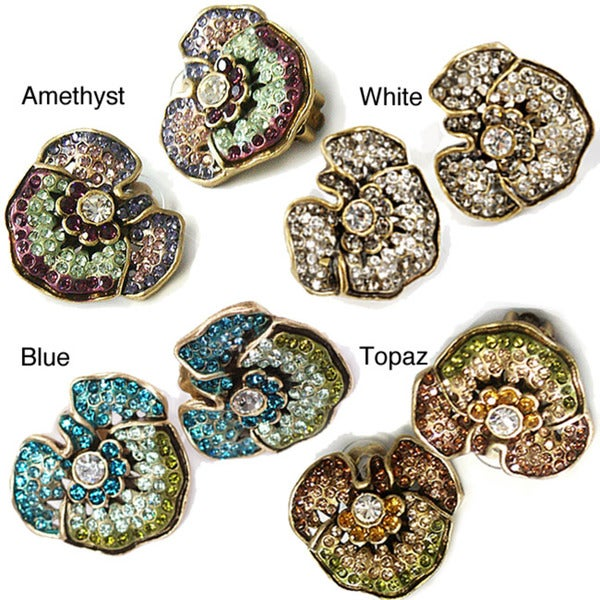 Sweet Romance Crystal Pansy Flower Clip On Earrings