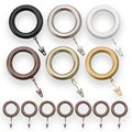 Bold Pole Resin Curtain Rod Rings (Pack of 7)
