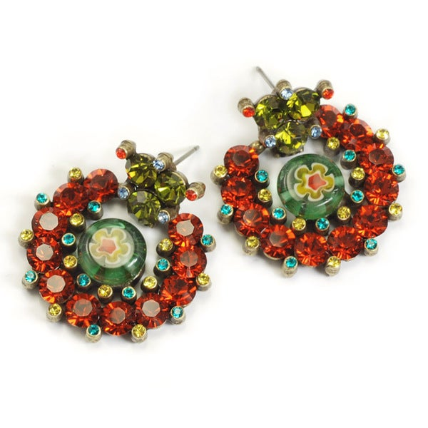 Sweet Romance Rainbow Crystal Caterpillar Earrings