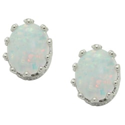 Sterling Silver Oval Crown Setting Created Opal Stud Earrings