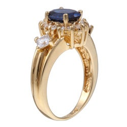 Sterling Essentials 14K Gold over Silver Blue and White Cubic Zirconia Ring