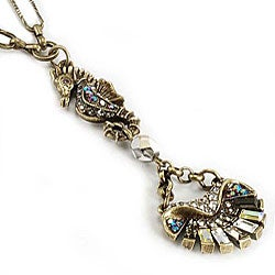Sweet Romance Art Deco Seahorse and Shell Necklace