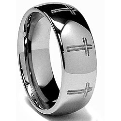 Men's Tungsten Carbide Laser-etched Eternity Cross Band (8 mm)