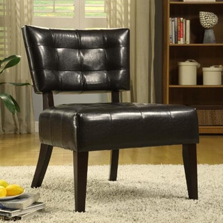 Tribecca Home Charlotte Brown Faux Leather Armless Occasional Chair
