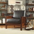 ETHAN HOME Patterson Faux Leather and Oak Mission Armchair