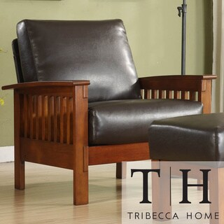 TRIBECCA HOME Patterson Faux Leather and Oak Mission Armchair