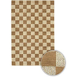 "Hand-Knotted Mandara Brown Checkerboard Rectangular Jute Rug (2'6"" x 7'6"")"