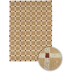 "Hand-Knotted Mandara Brown Checkerboard Jute Runner Rug (2'6"" x 7'6"")"