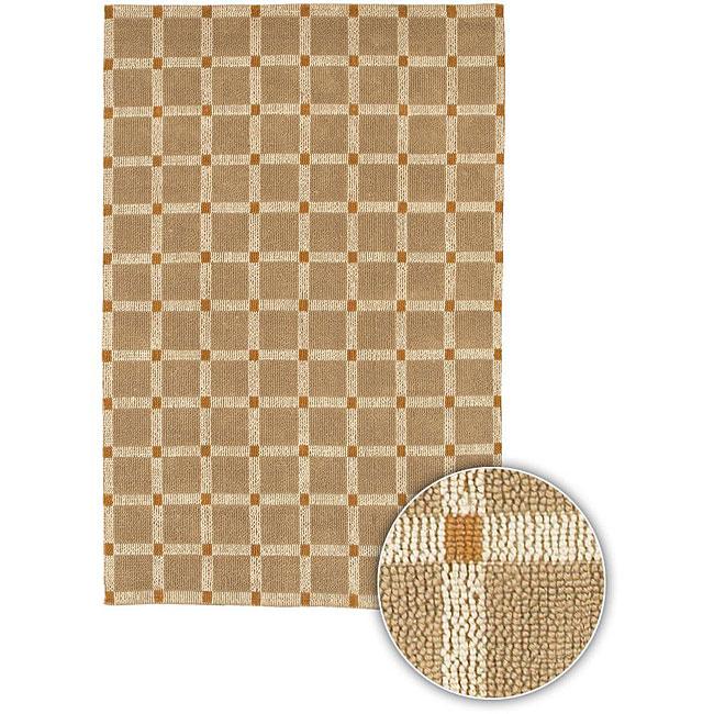 "Hand-Knotted Mandara Geometric Brown Checkerboard Jute Rug (2'6"" x 7'6"")"