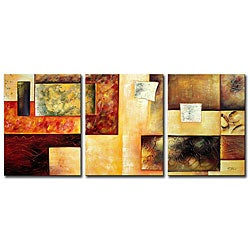 'Abstract Multicolor' Hand-painted 3-piece Oil Painting Set