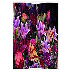 Canvas Double-sided 6-foot Spring Flowers Room Divider (China)