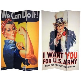 Double-sided 6-foot WWII Posters Canvas Room Divider (China)