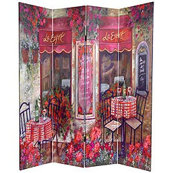 Canvas Double-sided 6-foot Parisian Cafe Room Divider (China)